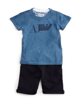 Armani Junior 2-Piece Logo-Print Tee and Shorts Set, Navy, Size 2-8