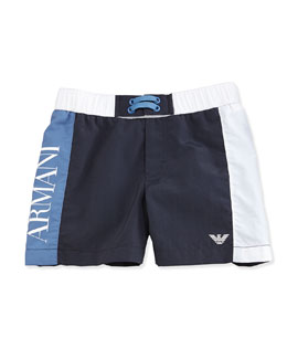 Armani Junior Colorblock Swim Trunks, Navy/White/Blue, Size 2-8