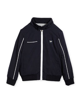 Armani Junior Jersey-Lined Lightweight Jacket, Navy, Size 2-8
