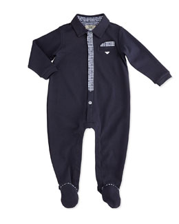 Armani Junior Plaid-Trim Footie Pajamas, Indigo, Size 1-9 Months