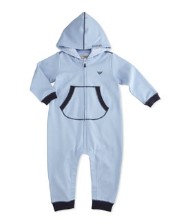 Armani Junior Hooded Coverall w/ Contrast Cuffs, Light Blue, Size 1-12 Months