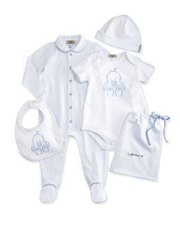 Armani Junior Logo-Print 5-Piece Gift Set, White/Blue, Size 1-12 Months