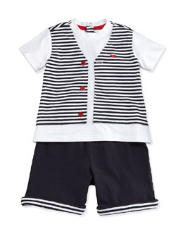 Armani Junior Jersey Tee & Shorts 2-Piece Gift Set, Navy, Size 1-12 Months