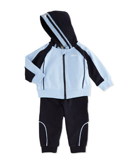 Armani Junior Two-Piece Hooded Tracksuit, Light Blue/Navy, 3-24 Months