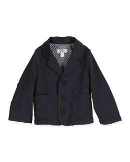 Armani Junior Stretch-Knit Three-Button Blazer, Indigo, Size 6-24 Months
