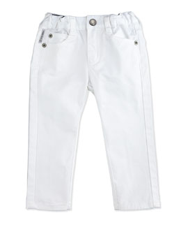 Armani Junior Slim-Fit Stretch-Denim Pants, White, Size 6-24 Months