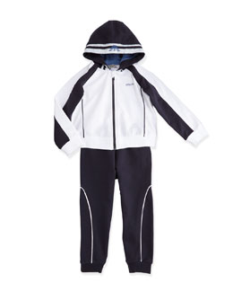 Armani Junior Two-Piece Hooded Track Suit, White/Navy, Size 3-24 Months