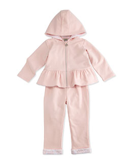 Armani Junior Two-Piece Hooded Track Suit, Pink, Size 3-24 Months