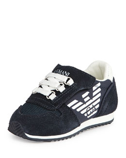 Armani Junior Mock Lace-Up Sneaker, Indigo/White, Sizes 5-13