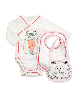 Little Marc Jacobs Long-Sleeve Kitty-Print Playsuit & Bibs, White, Size 1-18 Months