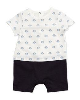Little Marc Jacobs Monkey-Print Combo Shortall, White/Blue, Size 3-18 Months