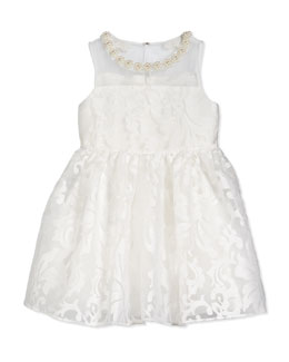 Floral Jacquard Tulle Dress, Ivory, Size 2-8