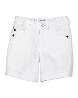 Armani Junior Cotton-Blend Twill Shorts, White, Size 2-8