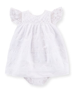 Lace-Trim Cotton Pintuck Dress & Bloomers, White, Size 6-24 Months