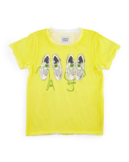 Armani Junior Raw-Edge Jersey Tee w/ Sneaker Print, Yellow, Size 2-8