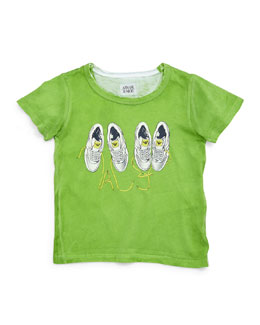 Armani Junior Sneaker-Graphic Jersey Tee, Green, Size 2-8