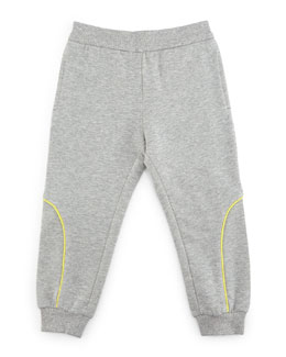 Armani Junior Terry-Lined Track Pants, Gray/Green, Size 2-8