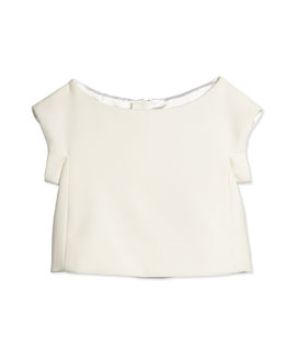 Eva Cap-Sleeve Crop Top, White, Size 8-14