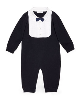 Long-Sleeve Tuxedo Coverall, Navy/White, Size 3-18 Months