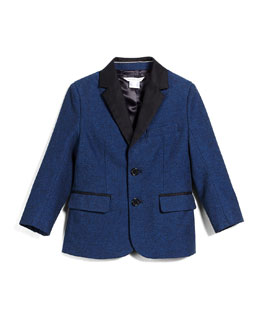Little Marc Jacobs Trim-Fit Cotton-Blend Sport Coat, Navy, Size 4-12
