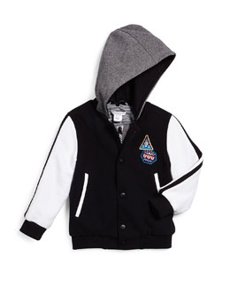 Little Marc Jacobs Hooded Colorblock Varsity Jacket, Black/White, Size 4-12