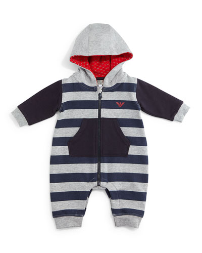 Striped Zip-Front Hooded Coverall, Gray/Blue, Size 3-12 Months