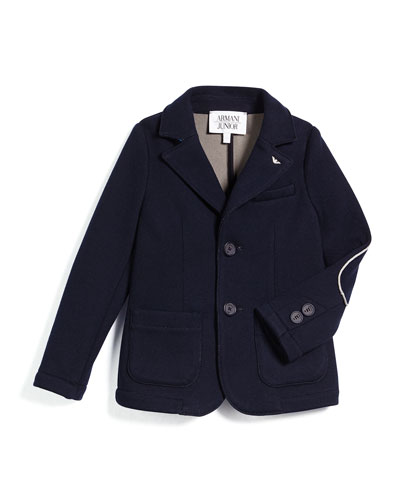 Contrast-Trim Knit Two-Button Blazer, Navy, Size 3-8