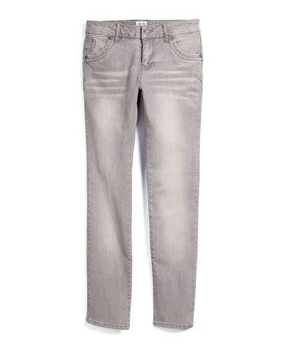 Slim-Fit Denim Jeans, Light Gray, Size 10-14