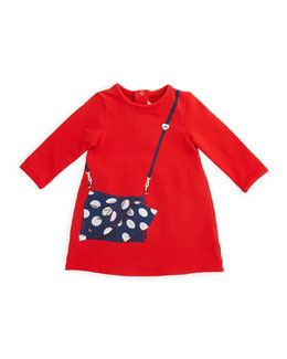 Little Marc Jacobs Long-Sleeve Tromp L'Oeil A-Line Dress, Red, Size 12M-3