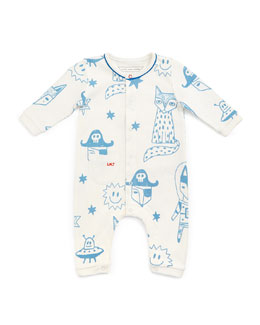 Little Marc Jacobs Cotton Fox-Print Coverall, White, Size 3-12 Months