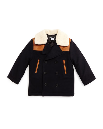 Wool-Blend Double-Breasted Peacoat w/ Faux-Leather Trim, Black Obsidian, Size 4-12