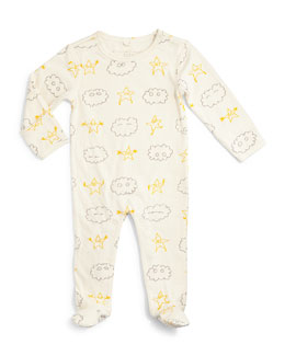 Double-Faced Cotton Footie Pajamas, Gray, Size 6-24 Months