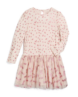 Long-Sleeve Primrose Combo Dress, Pink, Size 4Y-12Y