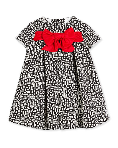 Short-Sleeve Pleated Grid-Print Dress, Black/White, Size 6M-3