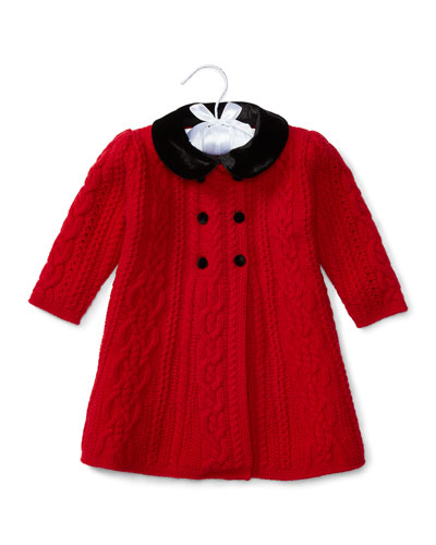 Double-Breasted Cable-Knit Stretch Wool Coat, Red, Size 3-24 Months