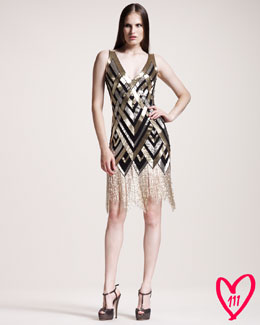 Naeem Khan BG 111th Anniversary Sequined-Pattern Cocktail Dress