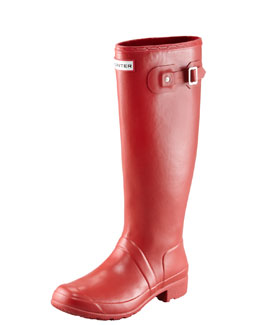Hunter Boot Original Tour Buckled Welly Boot, Red