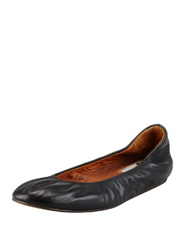 Lanvin Scrunched Leather Classic Ballerina Flat, Black