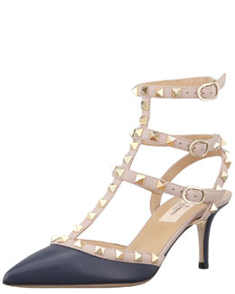 Valentino Rockstud Two-Tone Pointed Toe Pump, Marine