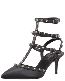 Valentino Noir Rockstud Leather Sling Back