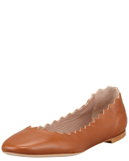 Chloe Scalloped Leather Ballerina Flat, Tan