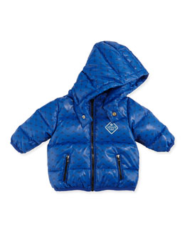 Armani Junior Allover Logo Print Puffer Jacket, Royal Blue, Sizes 3-24 Months