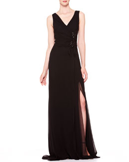 Carolina Herrera V-Neck Side-Gathered Gown, Black