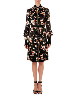 Givenchy Oversize-Zipper Floral-Print Shirtdress