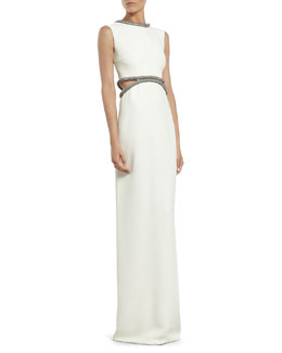 Gucci White Silk Cady Gown with Crystal Tube Embroidery