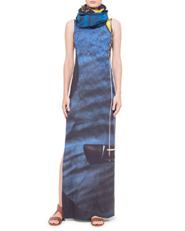 Akris punto Guitar-Print Ankle-Length Dress