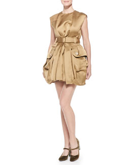 Marc Jacobs Belted Satin Mini Bubble Dress, Gold