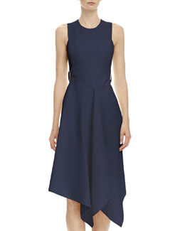 Stella McCartney Open-Back Tabbed Asymmetric Dress, Navy