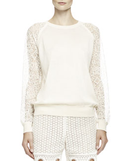 Chloe Embroidered Lace-Inset Top