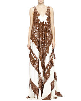 Chloe Two-Tone Patch Lace Folkloric Gown, Havana Brown